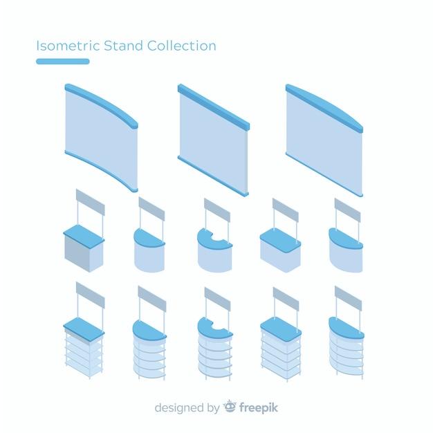 Moderne standcollectie met isometrisch aanzicht Gratis Vector