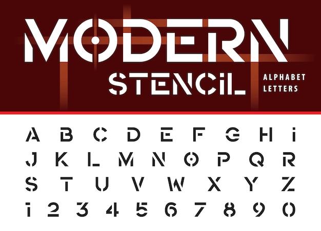 Moderne stencil, vet alfabet letters en cijfers Premium Vector