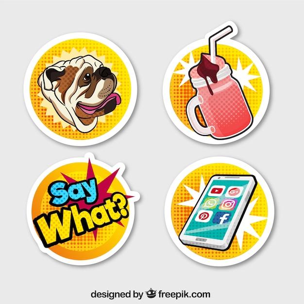 Moderne stickers met pop art stijl Gratis Vector