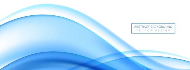 Moderne stromende blauwe golfbanner op witte achtergrond Gratis Vector