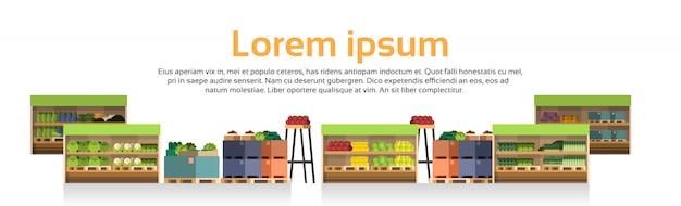 Moderne super markt planken geïsoleerde winkel, supermarkt met assortiment van levensmiddelen Premium Vector
