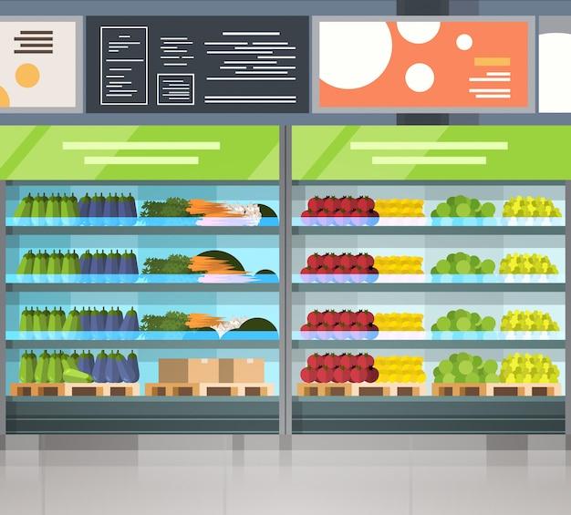 Moderne supermarkt interieur kruidenier winkel rij met verse producten op planken Premium Vector