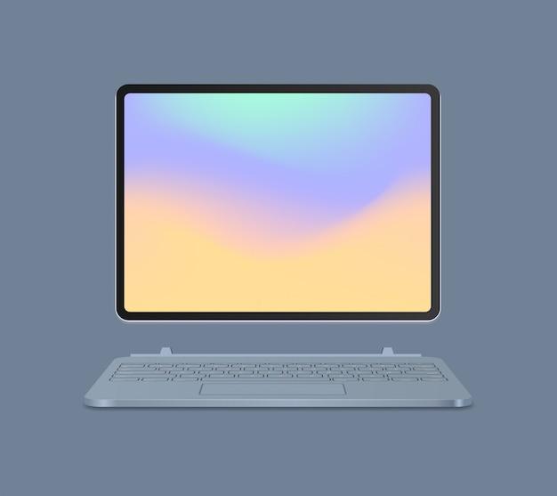 Moderne tabletcomputer met toetsenbord en gekleurd scherm realistische mockupgadgets en apparatenconcept vectorillustratie Premium Vector