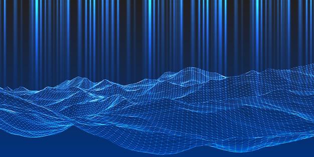 Moderne techno achtergrond met wireframe landschapsontwerp Gratis Vector