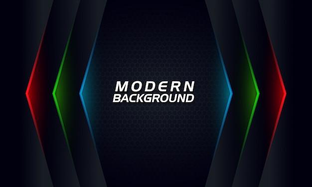Moderne technologie abstracte donkere achtergrond met rgb gloeiende lijnen Premium Vector