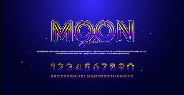 Moderne technologie alfabet nummer lettertypen Premium Vector