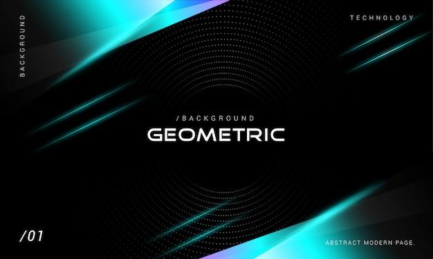 Moderne technologie neon geometrische achtergrond Premium Vector