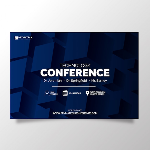 Moderne technologieconferentiesjabloon Gratis Vector