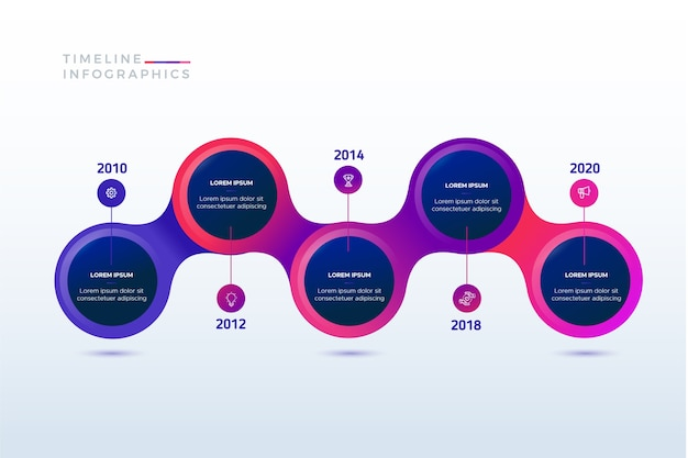 Moderne tijdlijn infographic Gratis Vector