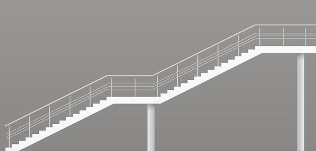 Moderne trap met metalen balustrades Premium Vector