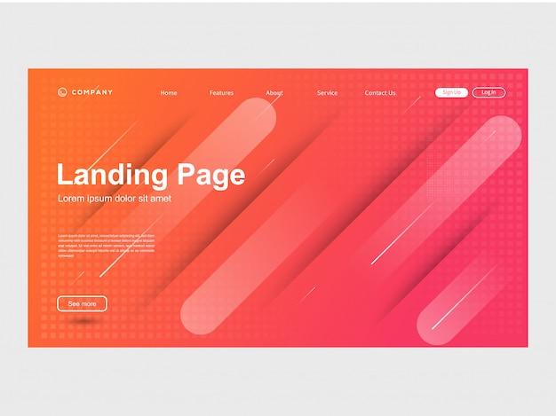 Moderne trendy kleur gradatie website sjabloon Premium Vector