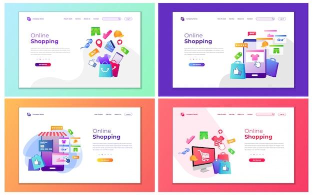Moderne vectorillustratie van online winkelen en winkelen winkel. modern ontwerpconcept van webpagina ontwerp voor website en mobiele website. Premium Vector