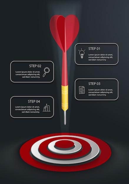Moderne verticale infographic met target, dart en vier tekstvakken op donkere achtergrond Premium Vector