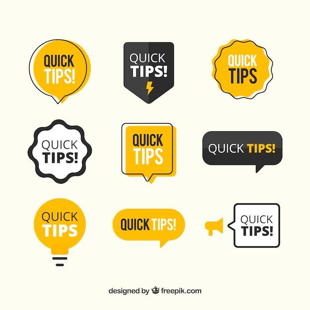 Moderne verzameling snelle tips Gratis Vector