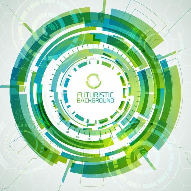 Moderne virtuele technologie achtergrond met cirkel met verschillende vormen en tinten groen kleur futuristische interactieve interface Gratis Vector
