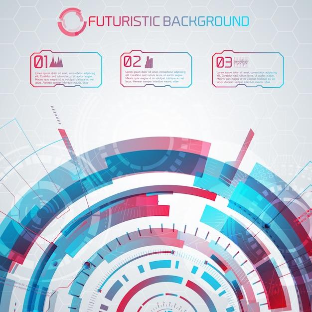 Moderne virtuele technologieachtergrond met futuristische halve cirkel en genummerde aanraakknoppen met pictogrammen en bijschriften Gratis Vector