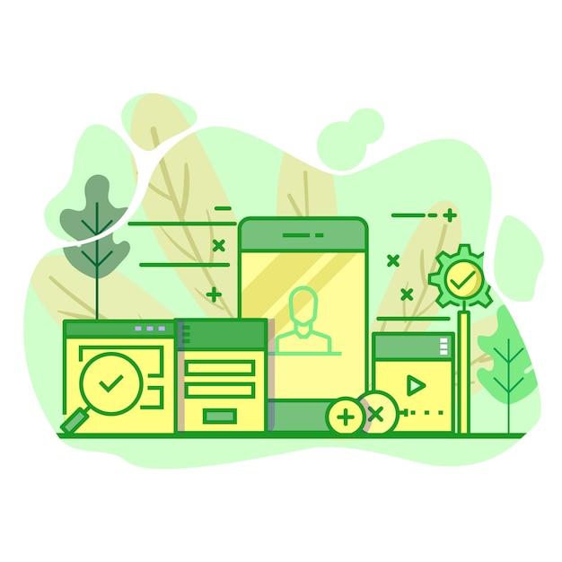 Moderne vlakke groene de kleurenillustratie van de gebruikersinterface Premium Vector