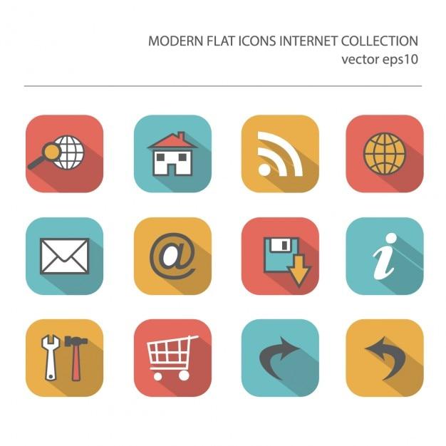 Moderne vlakke pictogrammen vector collectie met lange schaduw effect in de stijlvolle kleuren van internet artikelen Gratis Vector