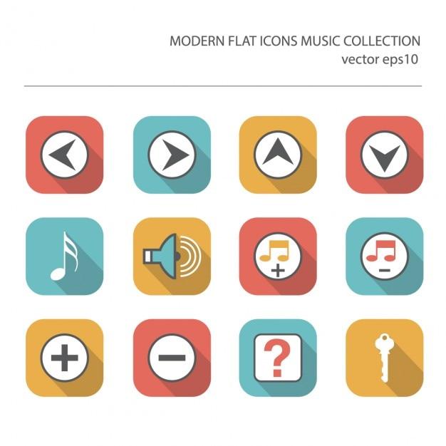 Moderne vlakke pictogrammen vector collectie met lange schaduw effect in de stijlvolle kleuren van muziek artikelen Gratis Vector