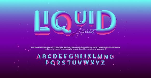 Moderne vloeiende alfabet lettertype. typografie ballonstijl lettertypen Premium Vector