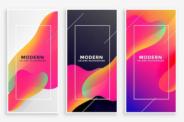 Moderne vloeiende levendige banners set van drie Gratis Vector
