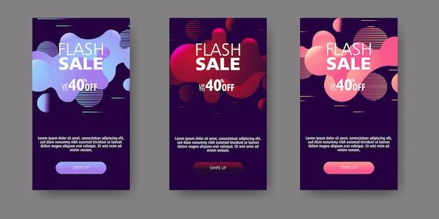 Moderne vloeiende mobiel voor flash verkoop banners. verkoop banner sjabloonontwerp, flash verkoop speciale aanbieding set. Premium Vector