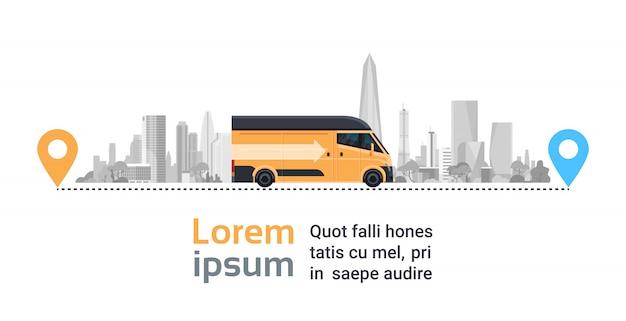 Moderne vrachtwagenauto over silhouetstad op de aanwijzingen van de routelocatie, het verschepende concept van de vervoersdienst Premium Vector