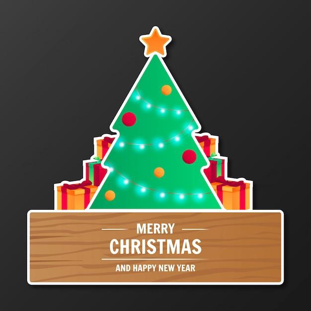 Moderne vrolijke kerstmisbanner Gratis Vector