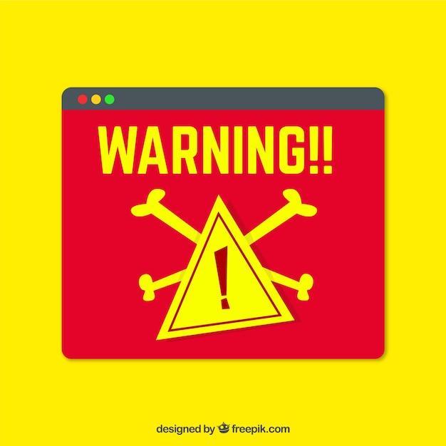 Moderne waarschuwing verschijnt met een plat ontwerp Gratis Vector