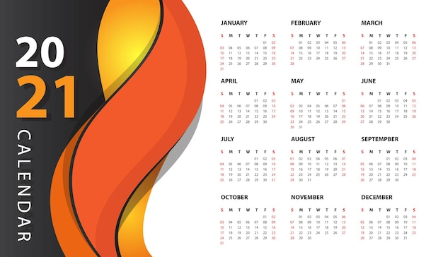 Moderne wandkalender 2021 Gratis Vector