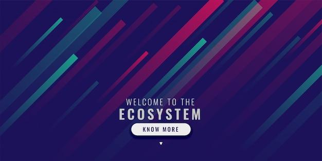 Moderne webbanner met effect van kleurlijnen Gratis Vector