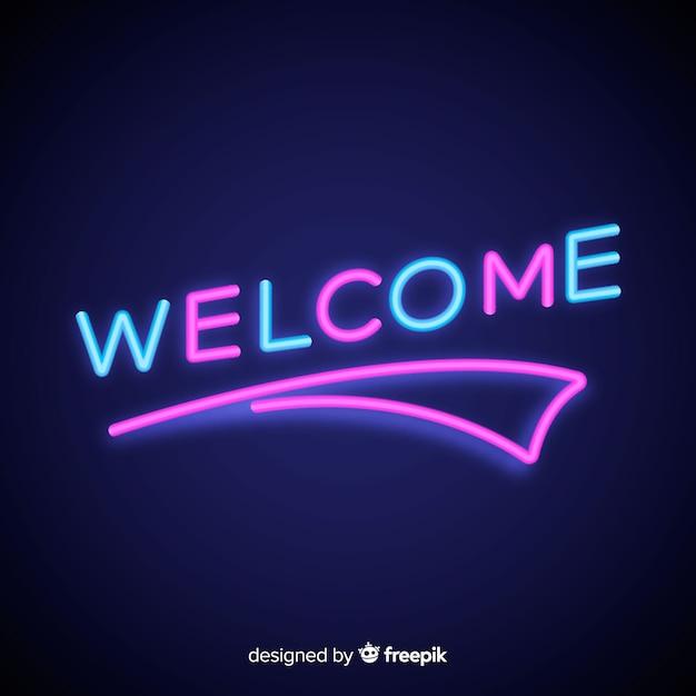 Moderne welkomsttekenpost met neonlichtstijl Gratis Vector