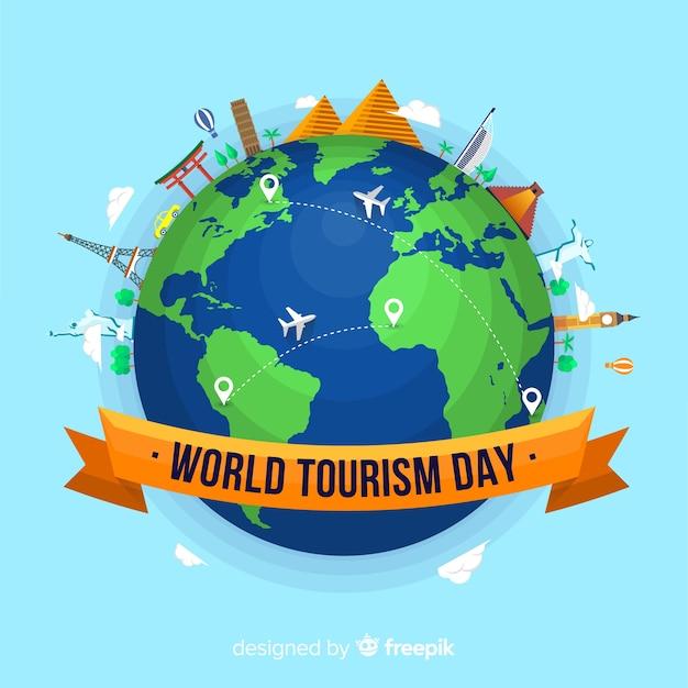 Moderne wereld toeristische dag samenstelling met platte ontwerp Gratis Vector