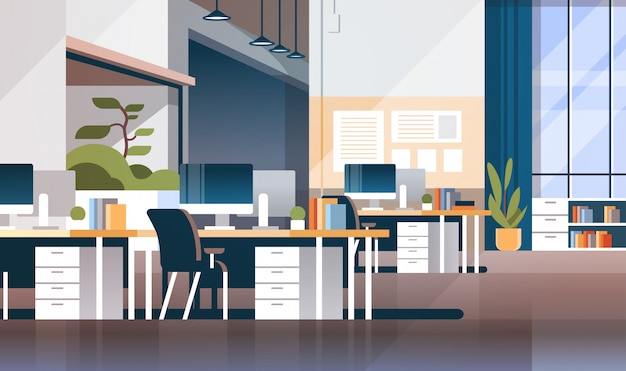 Moderne werkplek kabinet kamer kantoor interieur banner Premium Vector