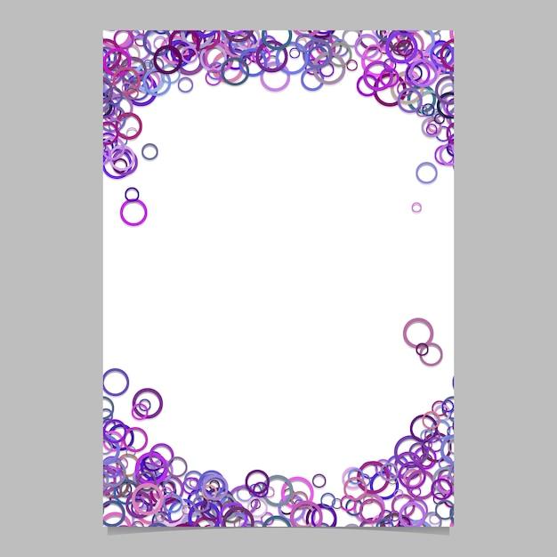 Moderne willekeurige cirkel patroon pagina achtergrond sjabloon - vector lege brochure frame grafisch ontwerp met paarse ringen Gratis Vector