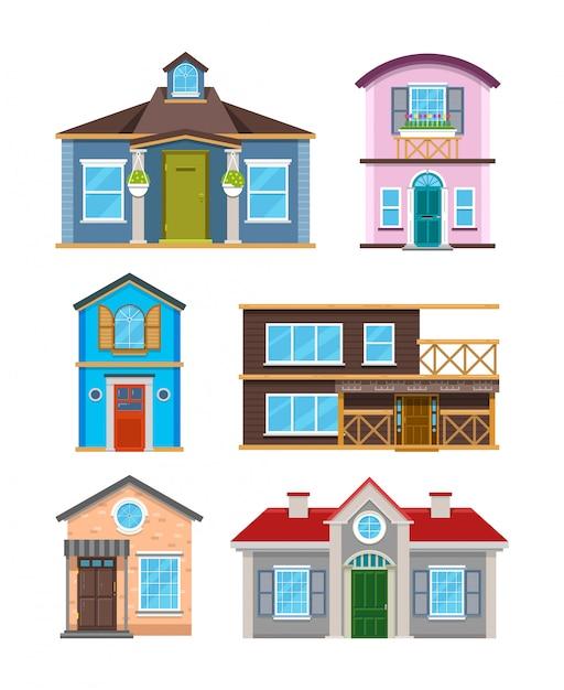 Moderne woningbouw huizen cartoon vectorinzameling Premium Vector