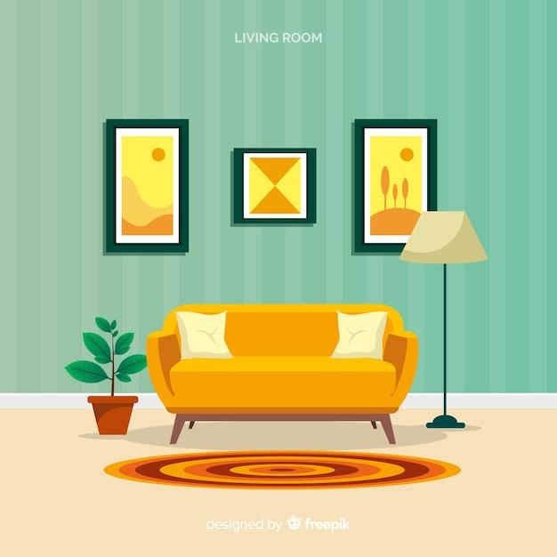Moderne woonkamer met een plat ontwerp Gratis Vector