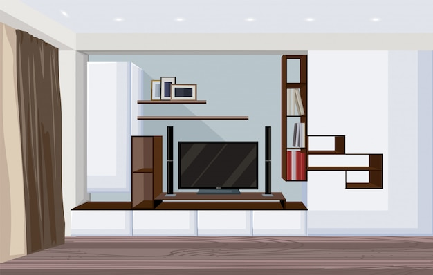 Moderne woonkamer met grote tv en planken voor boeken en fotolijsten Gratis Vector
