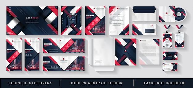 Moderne zakelijke briefpapier en huisstijl sjabloon instellen rood blauw navy abstract Premium Vector