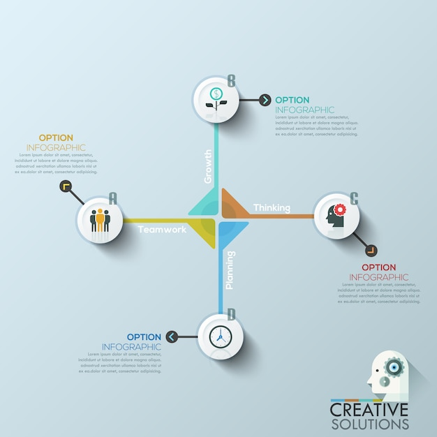 Moderne zakelijke cirkel origami stijl opties banner. Premium Vector