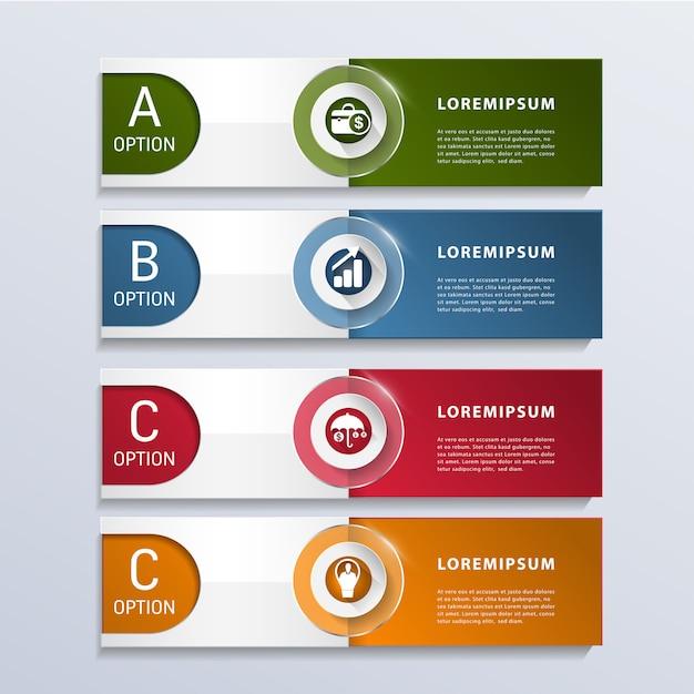 Moderne zakelijke infographic 3 opties Premium Vector