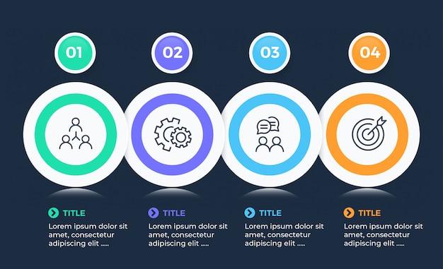 Moderne zakelijke infographic met 4 opties Premium Vector