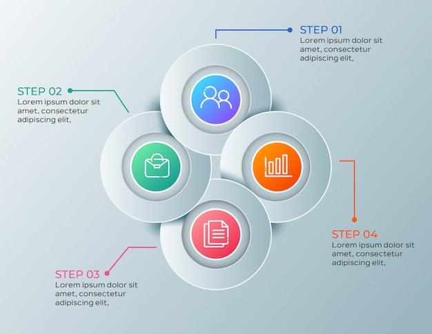 Moderne zakelijke infographic met 4 stappen Premium Vector
