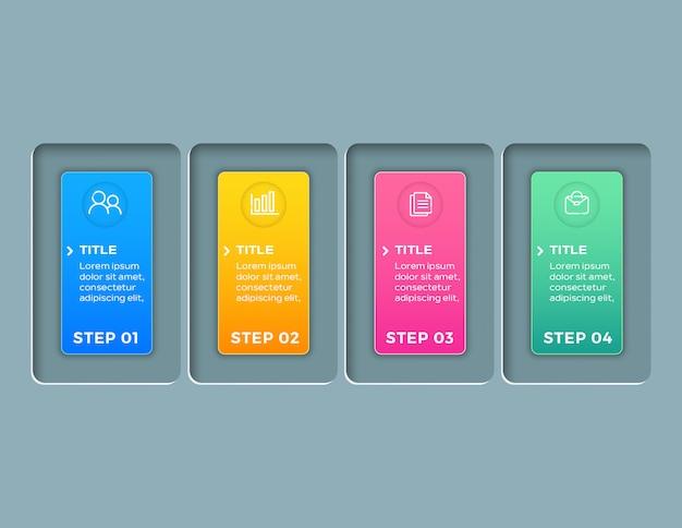 Moderne zakelijke infographics met 4 stappen sjabloon Premium Vector