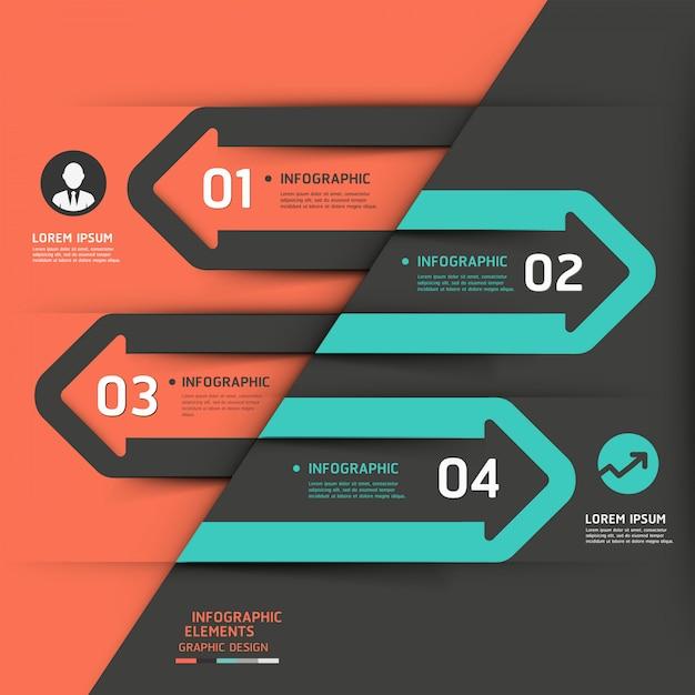 Moderne zakelijke pijl infographics sjabloon. Premium Vector
