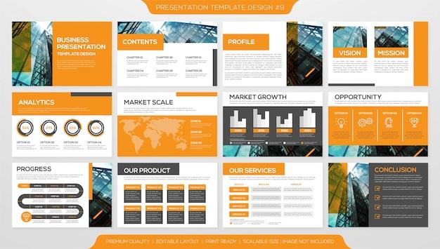 Moderne zakelijke presentatiesjabloon Premium Vector