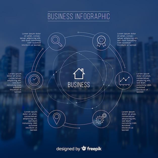 Moderne zaken infographic met foto Gratis Vector