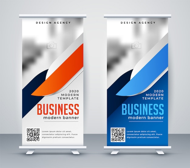 Moderne zaken samenvouwen banner ontwerpsjabloon Gratis Vector