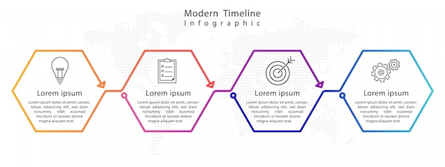 Moderne zeshoek tijdlijn infographic Premium Vector