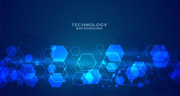 Moderne zeshoekige technologie blauwe achtergrond Gratis Vector